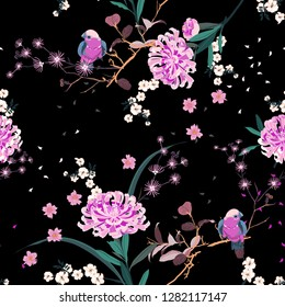 Beautiful oriental garden flower with blooming botanical and cherry blossom floral in the night seamless pattern vector design for fashion ,fabric,wallpaper, and all prints on black color background