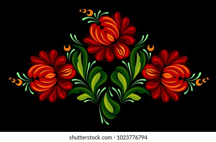 Beautiful ornamental floral pattern, Ukrainian style