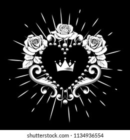 Beautiful ornamental heart with crown and roses in white color isolated on black background. Vector illustration.