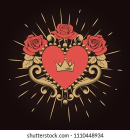 Beautiful ornamental red heart with crown and roses on black background. Vector illustration.