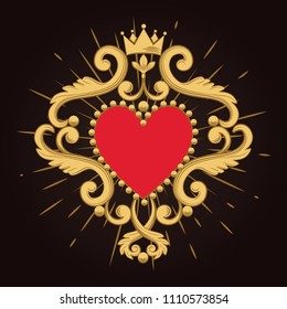 Beautiful ornamental red heart with crown on black background. Vector illustration.
