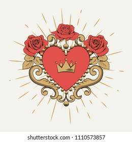 Beautiful ornamental red heart with crown and roses on white background. Vector illustration.