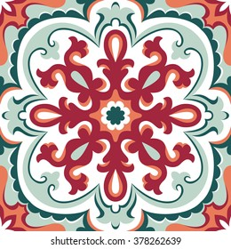 Beautiful ornamental tile background vector illustration. Great for patterns, vintage design, and wallpaper.