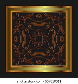Beautiful ornate antique frame vintage braided symmetrical pattern on black background
