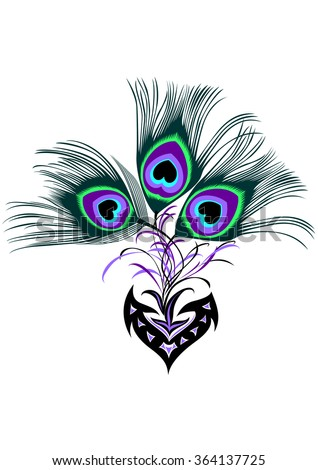 Beautiful Ornate Tribal Peacock Feather Tattoo Stock Vector Royalty