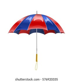 Beautiful outdoor glossy red blue umbrella isolated on white background. Vector illustration.