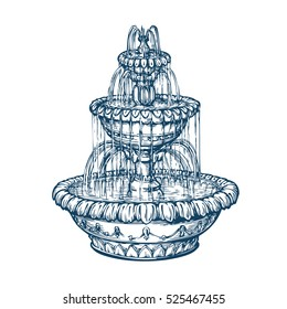 Beautiful outdoor marble fountain. Sketch vintage vector illustration