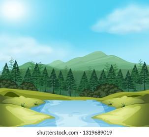Beautiful outdoor wood scene illustration