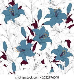 Beautiful outline Floral pattern lily flowers. Botanical  Motifs random. Seamless vector texture. For fashion prints. Printing with in hand drawn tecnic on white background in unfinished style