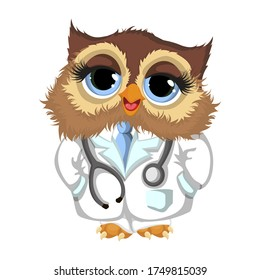 Beautiful owl doctor. Owl cartoon character. Cartoon vector illustration isolated on white background. Vector illustration for your design.