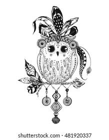 Beautiful Owl with feathers and decorations, tribal boho style. Hand-drawn vector illustration Owl.