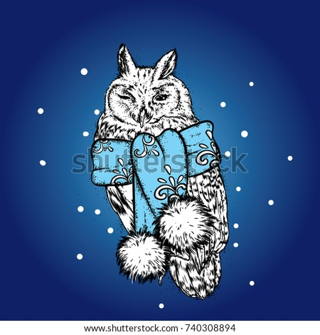beautiful owl in a new year scarf vector illustration for a postcard or a poster
