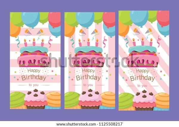 Beautiful Pack Happy Birthday Card Design Stock Vector