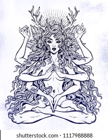 Beautiful pagan magic occult many armed goddess girl in lotus position with long hair, six hands. Feminine magic diety, spiritual. Hinduism and witchcraft inspiration. Vector isolated illustration.