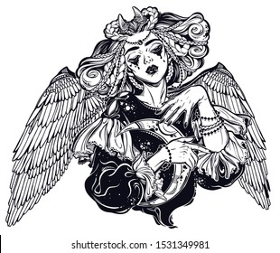 Beautiful pagan magic winged and horned goddess Lilith with crescent in her hands. Astrologial symbol of black moon. Diety, spiritual art. Occultism and witchcraft. Vector isolated illustration.