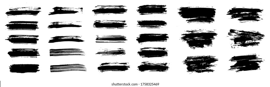 Beautiful Paintbrush Set, brush stroke, vector, template. High quality manually traced. Grunge elements for Social media and network. Ink brush stoke stencil. Rectangle text boxes. Vector texture set