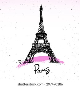 Beautiful painting, sketch art of black and pink hand drawn element and  isolated. Text Paris and Eiffel tower. Fashion print of card in french style, vector illustration.