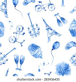 beautiful painting, sketch art - romantic seamless pattern of blue hand drawn elements and objects isolated on white background. Fashion print for love card in french style - vector illustration