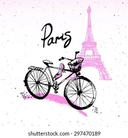 Фотообои Beautiful painting, sketch art - romantic set of black and pink hand drawn element and isolated, with Eiffel tower and bicycle. Fashion print of card in french style - vector illustration.