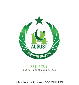 Beautiful Pakistan 14th August Logo in Green Color  - Vector Illustration