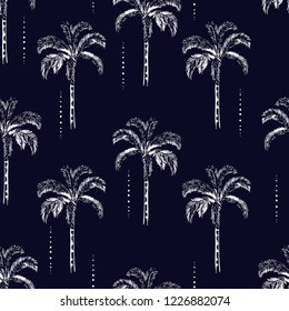 Beautiful Palm and coconut trees silhouette on the navy blue background. Vector seamless pattern with tropical plants design for fashion,fabric wallapaper and all prints
