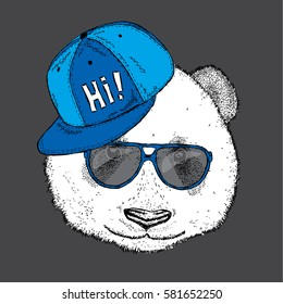 Beautiful Panda with glasses and a cap. Vector illustration.