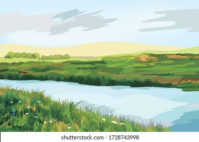 Beautiful panorama view of the natural green meadow