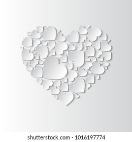 Beautiful Paper Cut Out Heart With Many Small White Hearts On Background Vector Illustration