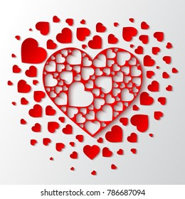 Beautiful Paper Cut Out Heart With Many Small Red Hearts Vector Illustration