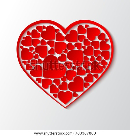 Beautiful Paper Cut Out Heart With Red Frame And Many Small Hearts Vector
