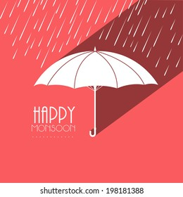 Beautiful paper design of an umbrella with raindrops falling on pink background for Happy Monsoon Season.