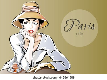Beautiful Parisien woman sitting at street cafe with glass of wine. Dreaming girl in Paris city vector illustration background