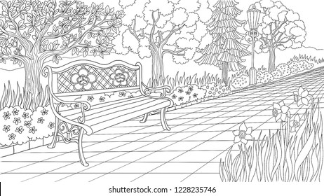 Beautiful Park Garden Vector illustration, Coloring page, with trees and flowers and bench, romantic design,  Coloring for adults