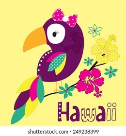beautiful parrot with hawaii flowers vector illustration
