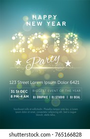 Beautiful party flyer with golden text 2018 NYE (New Year Eve). Creative template, banner, flyer or invitation design. Vector illustaration.