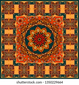 Beautiful pashmina, tablecloth or pillowcase with ornamental frame and mandala flower in oriental style.