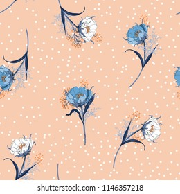 Beautiful pastel Blowing garden flowers seamless pattern vector with scattered white polka dots on vintage pink background for fashion,fabric and all prints
