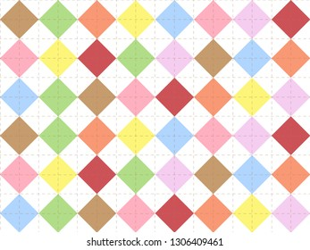 Beautiful pastel colorful diamond square on white background in minimal and modern trendy geometric concept.Vector art pattern graphic design for wallpaper,textile,printed with vintage retro style.
