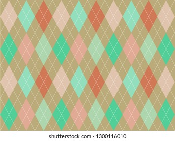 Beautiful pastel colorful triangle polygon on brown background in minimal and modern trendy geometric concept.Vector art pattern graphic design for wallpaper,textile,printed with vintage retro style.