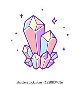 Beautiful pastel crystals drawing. Hand drawn vector illustration of natural crystal gem.