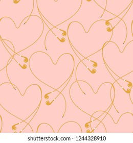 Beautiful pastel eyephone create positive heart seamless pattern vector design for fabric,wallpaper,fashion ,and all prints on nude pink background color