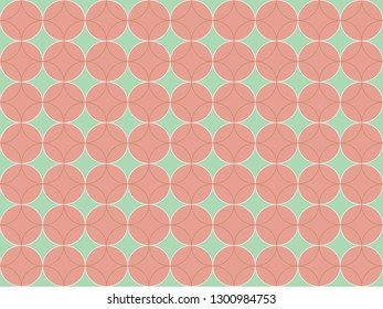Beautiful pastel pink circle on green mint color background in minimal and modern trendy geometric concept. Vector art pattern graphic design for wallpaper, textile, printed with vintage retro style.