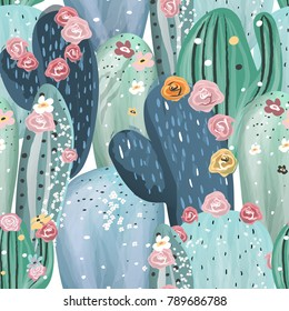Beautiful pastel vintage cactuses, succulents, cacti with pink, white and yellow flowers seamless pattern