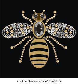 Beautiful pattern embroidery of flying bees shiny gold, silver and black print with precious rhinestones, embroidery and jewelry. Isolated fashion abstract  background - stock vector.