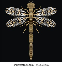 Beautiful pattern embroidery of flying dragonfly shiny gold, silver and black print with precious rhinestones, embroidery and jewelry. Isolated fashion abstract  background - stock vector.