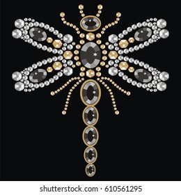 Beautiful pattern embroidery of flying dragonfly shiny gold, silver and black print with diamonds, embroidery and jewelry. Isolated fashion abstract background - stock vector.