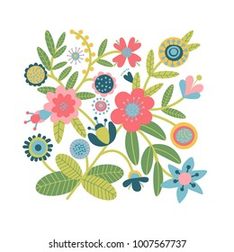 A beautiful  pattern with fantasy flowers in flat cartoon style. Folk or tribal design. Vector traditional floral bouquet.  Great for fashion, cards, invitations