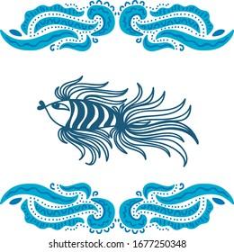 Beautiful pattern fish and sea waves. Vector illustration