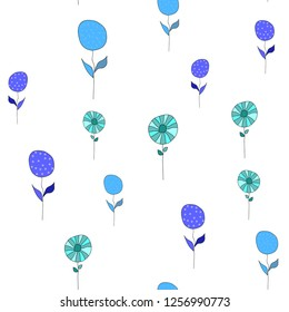 Beautiful Pattern with Flowers Different Color. Elements are not cropped. Pattern under the mask. Vector. Perfect design for textile, box, posters, cards, brochures, web etc.
