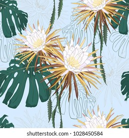 Beautiful pattern with night-blooming cereus flowers and tropical leaves on blue background. Stylish seamless vector background.